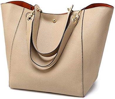 ハンドバッグ、大容量の女性のバッグ、ライチパターンカジュアルファッションの革PUトートバッグ、2つのショルダーストラップのデザインのショルダーバッグ、23 * 28 * 29.5センチメートル よくできた (Color : Beige)