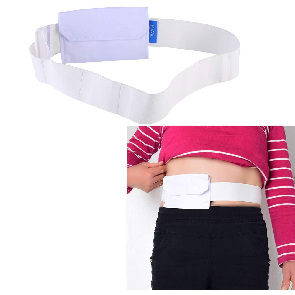 Feeding Tube Belt G Tubes Catheter Holder Peritoneal Dialysis Gastrostomy Peg Tube Supplies Cover Bag Drainage Abdominal Fixation Medical Nursing Belt For Patients (White) by H&S Health