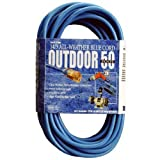 Coleman Cable 02368-06 16-3 50-Foot Hi-Vis Low Temp Winter Extension Cord, Blue