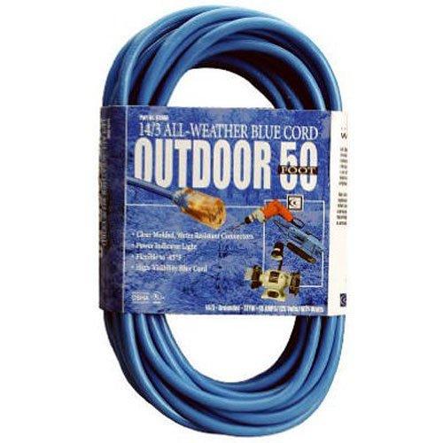 Southwire 02368-06 16-3 50-Foot Hi-Vis Low Temp Winter Extension Cord, Blue (Temp Extension Cable)