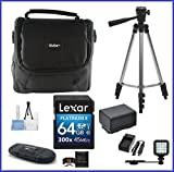 Canon VIXIA HF-R Camcorder Ultimate Bundle, includes: 64GB SDXC Memory Card, LED Light, Tripod, Spare Battery and more...