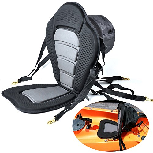 Welugnal Kayak Backrest Boating Seat,Luxury Adjustable Padded Kayak Seat Back with Detachable Canoe Backrest Seat Bag