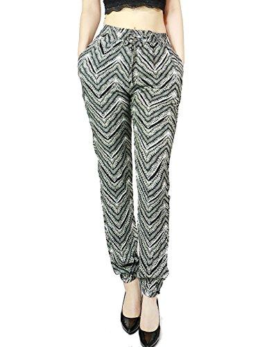 Women's Trendy Light Fashion Luxury Style Print Long Pants Intricate Designed (X-LARGE, BLACK-TRK15R121)