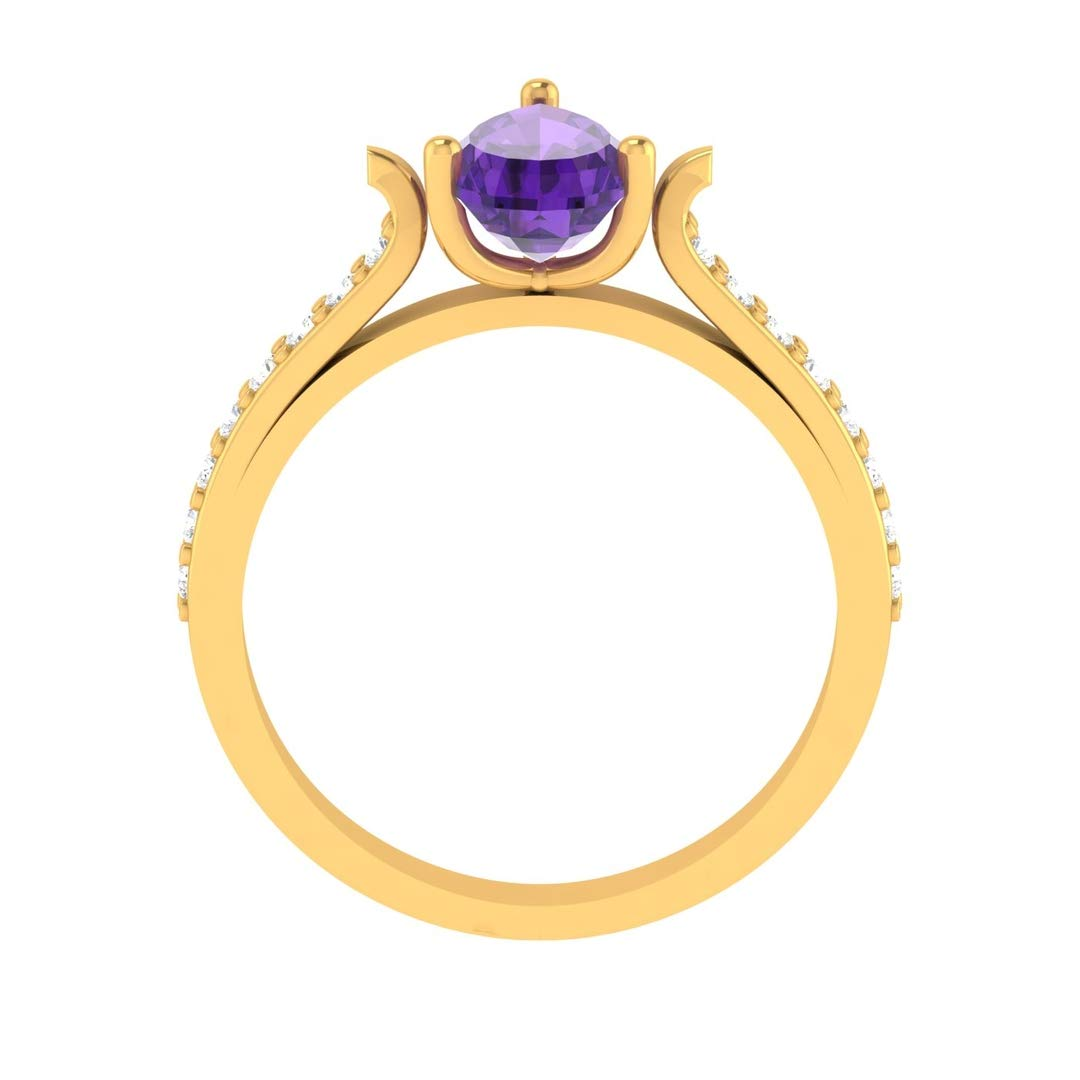 Hanssini Jewels 14k Yellow Gold Plated 1.25 CT Pear Cut Solitaire Purple Amethyst Engagement Ring