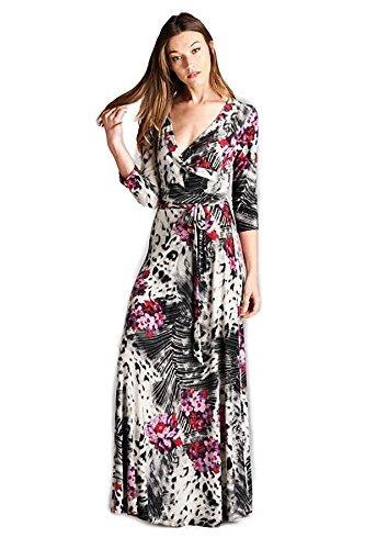 Tua USA 3/4 Sleeve Exotic Print Wrap Knit Maxi Dress (Animal Floral, S )