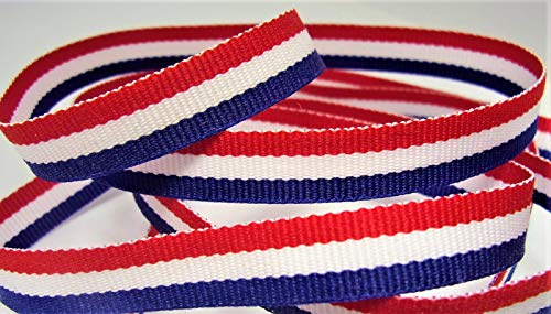 Grosgrain Ribbon - Red, White and Blue Stripes - 3/8