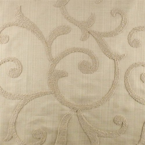 Designer Vellum Beige Beale Embroidered Decorating Fabric, Fabric by The Yard