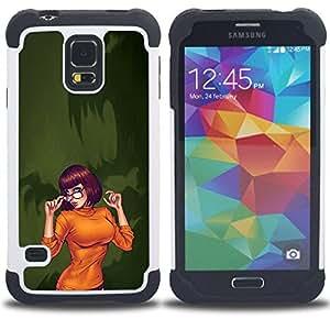 For Samsung Galaxy S5 I9600 G9009 G9008V - sexy orange Halloween character cartoon Dual Layer caso de Shell HUELGA Impacto pata de cabra con im????genes gr????ficas Steam - Funny Shop -