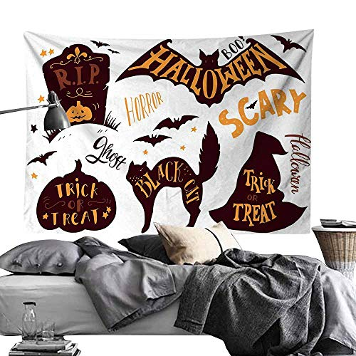 (Maureen Austin Decor Tapestry,Vintage Halloween,Halloween Symbols Trick or Treat Bat Tombstone Ghost Candy Scary,Dark Brown Orange Tapestries for Home Dorm Decoration60)