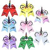 SIQUK 8 Pieces Unicorn Cheer Hair Bows with Elastic Hair Bands Colorful Unicorn Bow for Girls(Bonus: 1 pc Storage Bag)