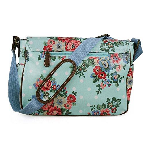 fleur toile Oilcloth Miss en toile Blue Pois avec Sacoche En et bandoulière Lulu Motif cirée ou C8gfxpRnq