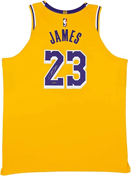 Amazon Com Lebron James Autographed Los Angeles Lakers Gold Authentic Nike Jersey Sports Collectibles