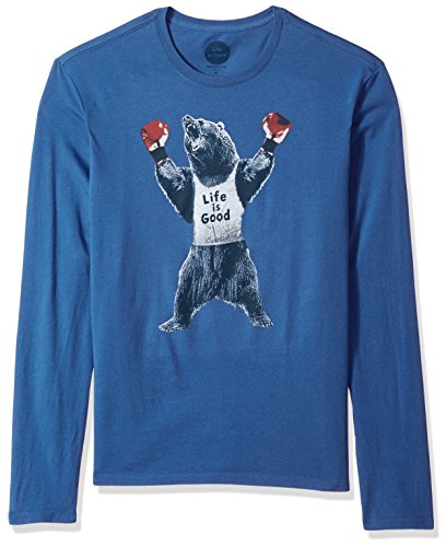 Life is good Men's Long Sleeve Smooth Tee Bear Boxer Vtgblu T-Shirt, Vintage Blue, (Life Is Good Cotton Boxers)