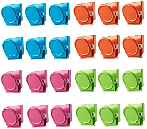 Pack-24 Magnetic Metal Clips, 4 Colored Magnets Clips for Office,School, Classroom,Whiteboards, Photos, Memo Note, Refrigerator Magnets for Home, ()