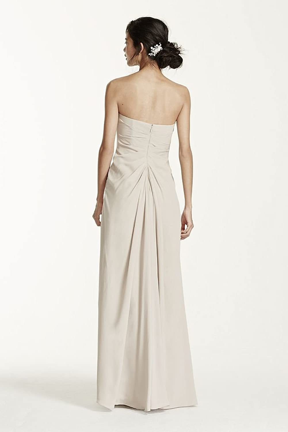 Long Strapless Crepe Bridesmaid Dress with