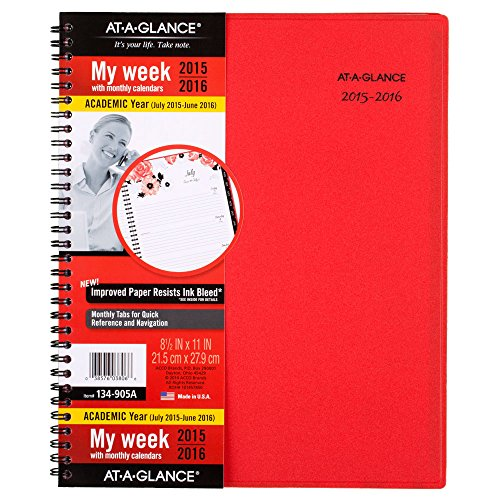 AT-A-GLANCE Weekly / Monthly Planner, Audrey Design, Academic Year, 12 Months, July 2015-June 2016, 8.5 x 11 Inch Page Size (134-905A)