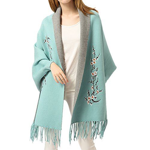 Women Embroidery Cloak Poncho Shawl Wrap Fashion Scarf Tassels Pashmina with Sleeve (Blue) Double Faced Wool Fabric
