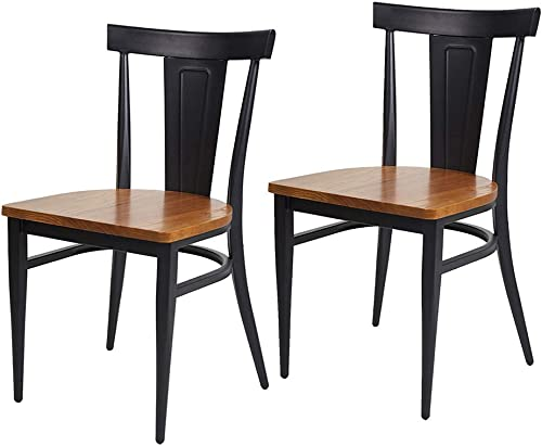 LUCKYERMORE Dining Room Side Chair Set of 2 Wood Heavy Duty Kitchen Chairs with Metal Legs for Commercial and Residential Use
