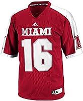 Adidas NCAA Miami (Ohio) Redhawks Playera de Fútbol para Hombre, Diseño de Rayas, Mediano, Rojo