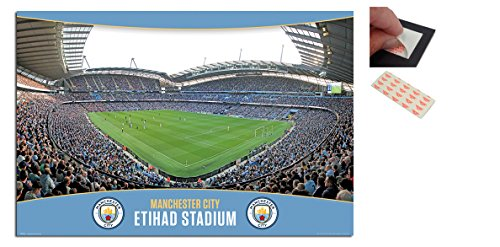 Bundle - 2 Items - Manchester City Etihad Stadium Poster - 91.5 x 61cms (36 x 24 Inches) and a Set of 4 Repositionable Adhesive Pads For Easy Wall Fixing