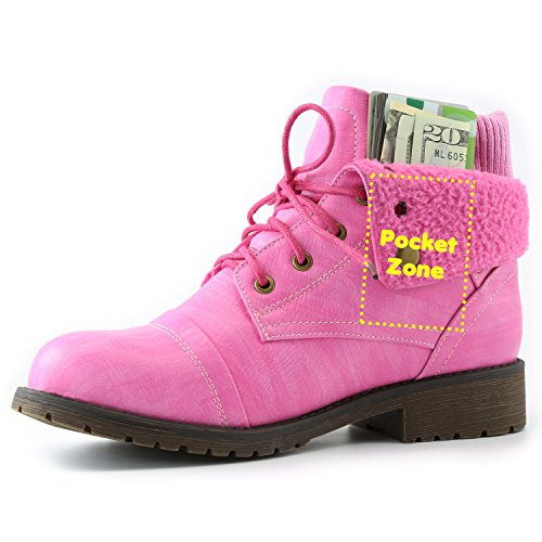 Women's DailyShoes Combat Style Lace Up Sweater Top Ankle Bootie With Pocket for Credit Card Knife Money Wallet Pocket Boots, (Pink Boots)