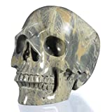 Mineralbiz 4.84'' 1349g Top Realistic Natural Butter Stone Hand Carved Crystal Skull Sculpture, Human Skull Figurine, Healing (25Q82)