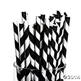 Fun Express Black Paper Striped Straws - 24 Pieces