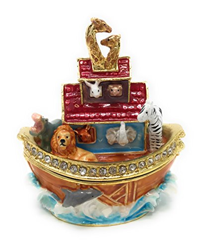 Kubla Craft Enameled Noahs Ark Trinket Box, Accented with Austrian Crystals