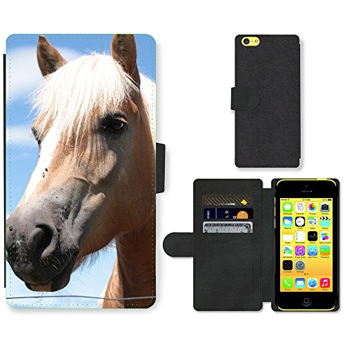 Just Phone Cases PU Leather Flip Custodia Protettiva Case Cover per // M00128801 Cheval Chevaux animal Tête de Cheval // Apple iPhone 5C