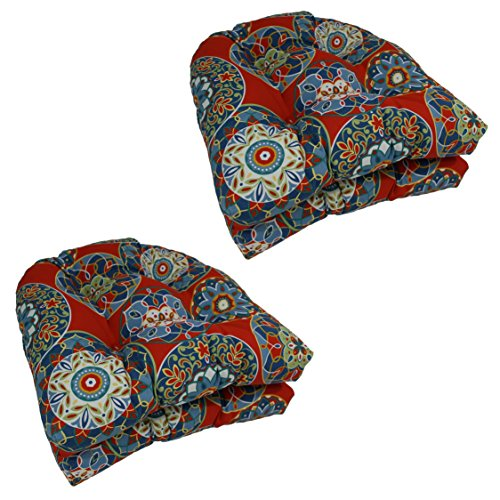 Blazing Needles U-Shaped Patterned Spun Polyester Tufted Dining Chair Cushions Set, Set of 4, 19