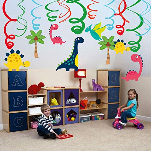Dinosaur Hanging Ceiling Swirls Decorations(Assembled) with Ctue Jurassic Dino T-REX Cutouts(30pcs),Boy Kids Birthday Party Decoration Photo Background,Birthday Baby Shower Party Supplies -
