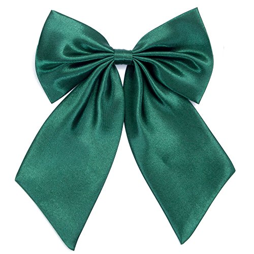Ladies Girl Bowknot Bow Tie - Adjustable Pre-tied Solid Color Handmade Bowties for Women Costume Accessory (Blackish Green) -