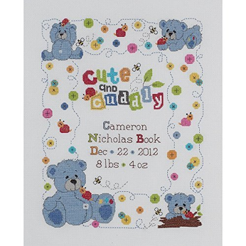 Bucilla Cute & Cuddly Bear Birth Record Counted Cross Stitch Kit-10