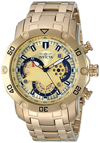 Invicta Men s Pro Diver Quartz Watch with Stainless-Steel Strap, Gold, 26.1 Model 22761