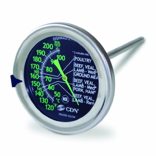 CDN IRM200-GLOW - ProAccurate Meat/Poultry Oven Thermometer-Extra Large Glow-in-the-Dark Dial by CDN