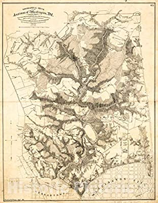 Historic 1871 Map   Topographical Sketch of The Environs of Washington, D.C. : (Survey of Locality for Public Park & site for a Presidential Mansion)
