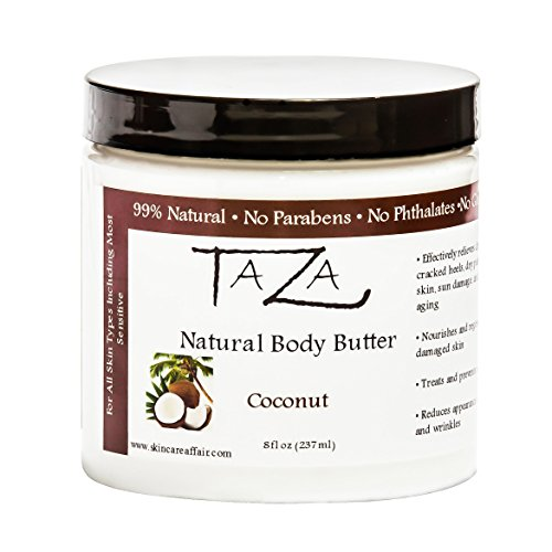 (Premium Taza Natural Coconut Body Butter, 8 fl oz (237 ml) ♦ Gives You Intense Hydration For Glowing Skin ♦ Contains: Shea Butter, Coconut Oil, Grapeseed Oil, Sweet Almond Oil, Cocoa Butter)