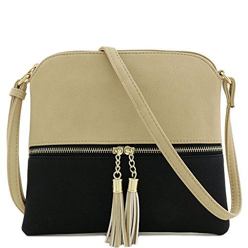 Bag Medium Black Sand with Lightweight Crossbody Tassel 1pqxngf