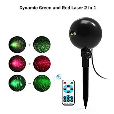 Christmas Lights, Laser Lights, Christmas Projector Lights Landscape Spotlights Waterproof Outdoor Xmas Light for Halloween Patio Yard Garden with Remote Controller (Color Changing): Home Improvement