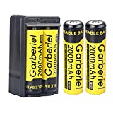 WishDeal 4 x 2000 mAh 3.7V Rechargeable Battery with Smart Charger Button Top Rechargeable Battery for Flashlight LED Torch