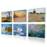 Alonline Art - Giorgio Landscape Water Lilies Claude Monet PRINT On CANVAS (100% Cotton, UNFRAMED Unmounted) 32''x24'' - 82x61cm Set of 6 Lot Painting Canvas For Bedroom Oil Paint Oil Painting Print
