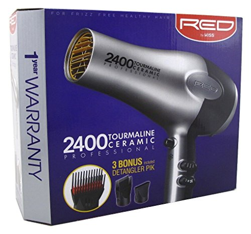 Kiss Red Dryer 2400 Tourmaline 3 Attachments (Tourm Ceramic) (Hair Dryer Kiss)