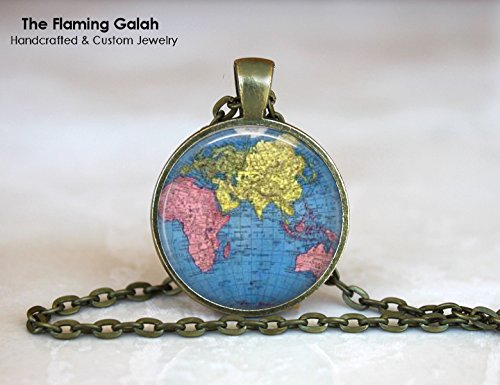 Amazon blue world pendant vintage world map world globe blue world pendant vintage world map world globe asia pacific necklace gumiabroncs Image collections