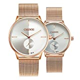 Swiss Brand Couple Watch Men Women Stainless Steel Rose Gold Mesh Strap Waterproof Watches Gift of 2 (White)