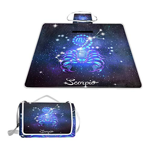 Printedin3D Constellation Zodiac Sign Scorpio Beach Blanket Picnic Mat 57x59in for Outdoor Hiking Grass Travel