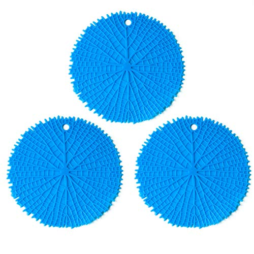 "Tircuger 3 Pack 7""x7"" Silicone Leaf-Pattern Potholder Trivet Mat Pot Holders for Hot Dishes Pads Pots or Table Countertops and Coasters Blue"