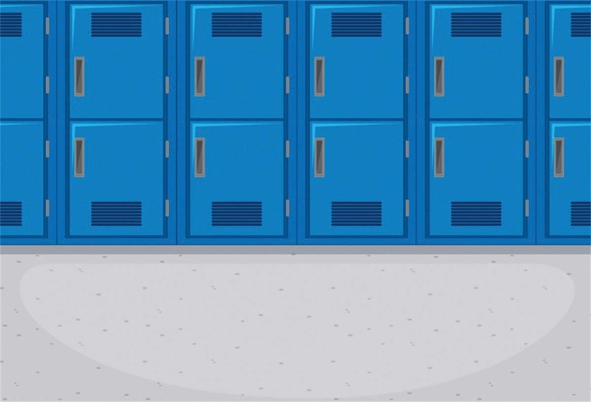 YEELE Colorful Locker Backdrop 12x8ft Modern Classroom Without Students Photography Background Back to School Theme Club Event High School Students Teammate Gathering Photo Studio Props Wallpaper