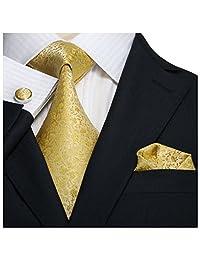 "Landisun SILK 28C Floral Pattern Mens SILK Tie Set: Tie+Hanky+Cufflinks Gold Yellow, 3.25""Wx59""L"