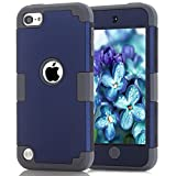 iPod Touch 6 Case, MCUK 3in1 [Shock Absorption] [Drop Protection] Hybrid Best Impact Defender Cover Shell Plastic Outer & Rubber Silicone Inner for Apple iPod Touch 5 6th Generation ( Navy+Grey)