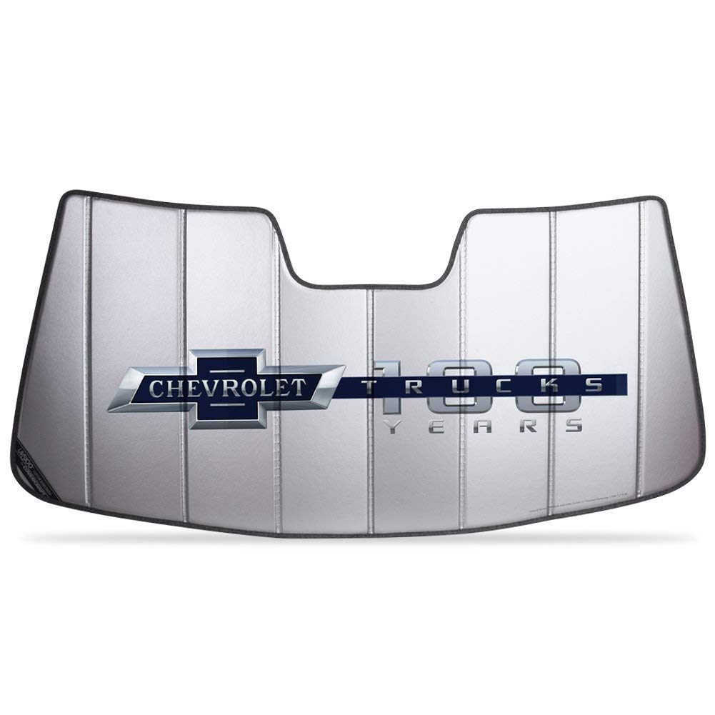 SR1 Performance 100th Anniversary Logo Accordion Style Sunshade - Insulated Silver compatible for Chevrolet 2014-2019 Chevy Trucks (2014-2019 No Lane Departure)